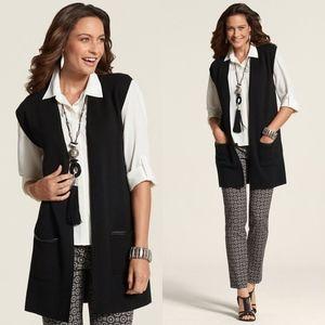 Chico's Trimmed Pocket Maggie Knit Sweater Vest XL